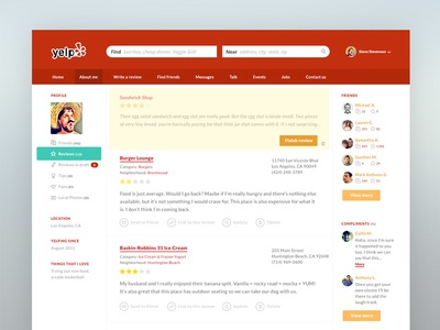 Yelp study yelp ui app interface ux flat icons user profile glyph website