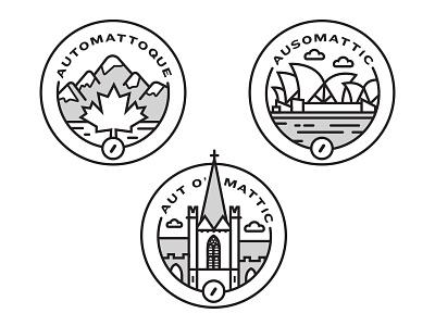 Automattic Logos logo illustration canada ireland australia sydney opera house mountain maple leaf cloud badge stamp icon