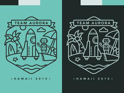 Automattic's Team Aurora rocket shuttle robot beach hawaii starfish sun cloud surf umbrella tee shirt