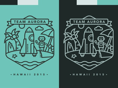 Automattic's Team Aurora rocket shuttle robot beach hawaii starfish sun cloud surf umbrella tee shirt
