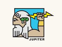 Jupiter arm vector illustration logo lightning bolt zeus god greek jupiter