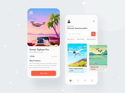 Drone - E-commerce app travel mobile ui concept ui app concept app e-commerce app mobile app app design branding application ecommerce drone app drone trending