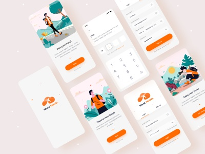 Travel app ui app design app concept application vacation mobile app design innovation minimalist clean travel app trip travelling tourism app travel agency