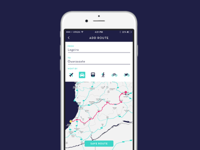 Daily UI #020 - Location Tracker map location route motorcycle bike train car plane travel backpack app daily ui