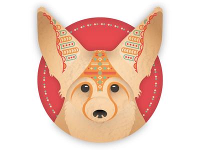 Fennex Fox WIP square circle triangle geometric desert animal grain texture pattern fox