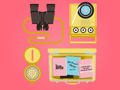 Moonrise Kingdom wes anderson moonrise kingdom illustration suitcase book direction compass vinyl player music lp binoculars