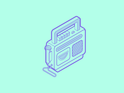 Awesometric sing-a-long vector sticker line radio mic toy tutorial isometric illustration sing-a-long