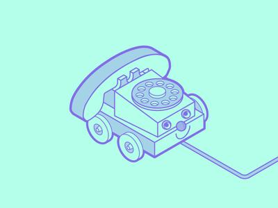 Awesometric Toy #3 price fisher phone playing illustrator tutorial lines kids telephone toy isometric illustration