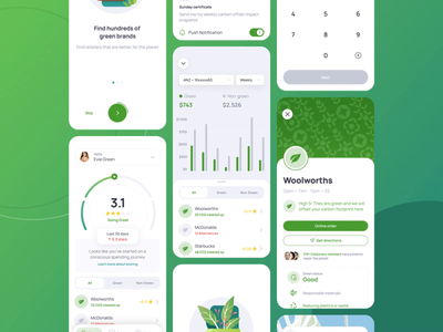 Carbonery Mobile UI Kit ui desgin ui kit mobile ui mobile green