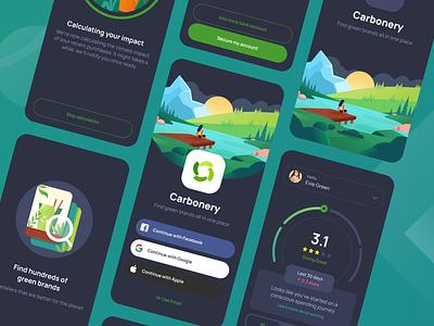 Carbonery UI Kit - Dark & Light green gradient visualization illustration clean green app green mobile app ui kit carbonery