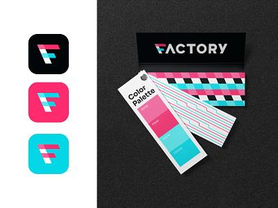 Factory Incubator Branding logo icon logo turquoise pink floyd branding and identity branding concept brand design branding factory
