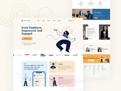 DynamicSignal Home Page employee engagement dynamic signal saas website pink orange blue tan design branding web design illustration website