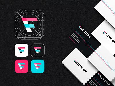 Factory Branding (Case Study) f icon f logo business cards blue pink vc branding factory logo branding