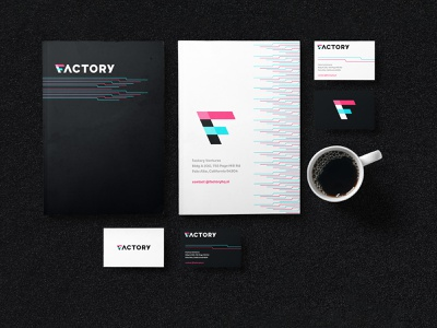 Factory Swag logo pink blue bag stationary t-shirts swag identity branding