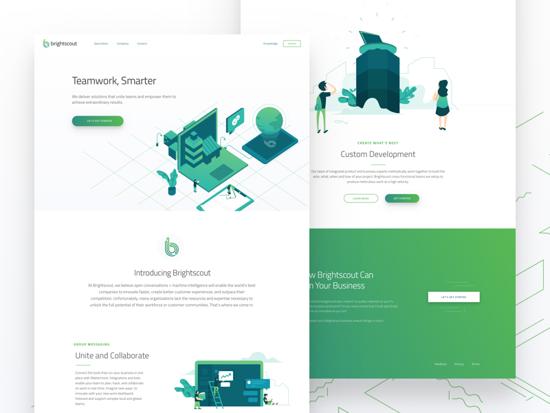 Brightscout - Home isometric green gradient illustration web design website brightscout
