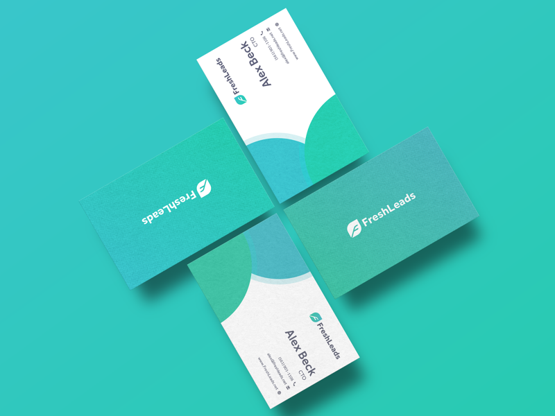 Freshleads Business Cards gradient logo icon leaf business cards freshleads
