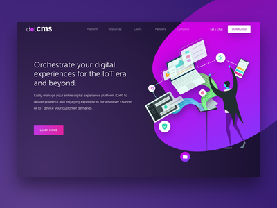 dotCMS Home Page - Hero gradient website hero header orchestrate purple