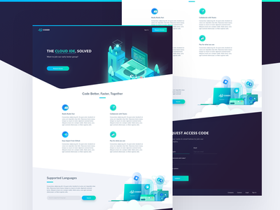 Coder Short Home Page Design gradient isometric cloud ide coder