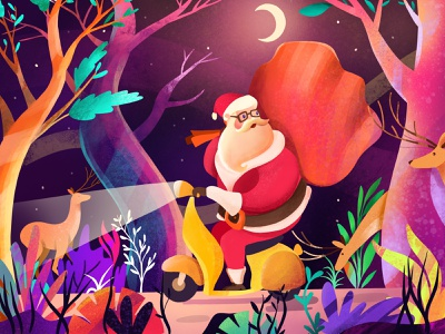 Uh Oh! Santa's Lost colorful design colorful art colorful holiday design christmas holiday procreate bright color illustration santa clause santa claus santaclaus santa