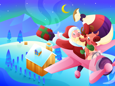 Santa's Coming to Town colorful illustration christmas holiday design holiday santa clause santa claus santaclaus santa