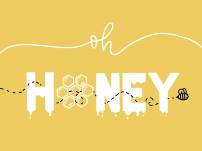 Honey honeycomb bee typography calligraphy honey