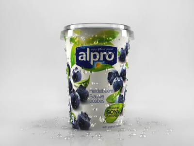 alpro soya blueberry blueberry joghurt 3d model render physical vray 3ds max droplets dribbble product cg
