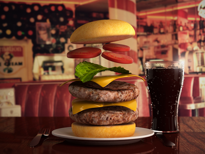Flying Cheesy 3ds max 3d vray sss2 render model burger cheese burger droplets light cola glass