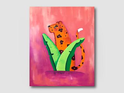 Live Paint Jaguar original art sunset australian jungle jaguar magenta coral perth illustation hand draw acrylic painting acrylic paint live paint