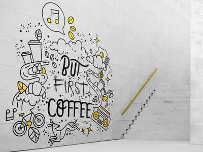 But First Coffee Mural