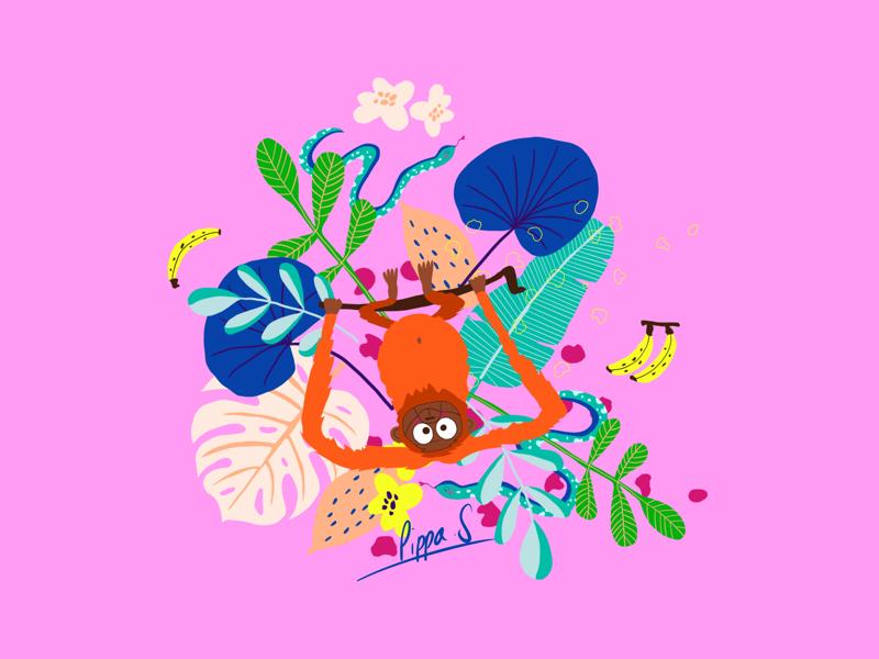 Jungle Fever textile design plant illustration monstera snake orangutang illustration hand drawn design textile bold colours illustrator procreate jungle