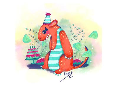 Birfday Cake digital art procreate illustrator designer plants cake perth illustrator monster illustration monster