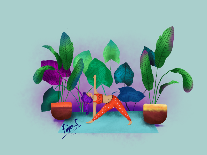 Namaslay sketch female drawing design digital illustration character design pot plants green purple coral illustrator procreate hand drawn illustration perth yoga plant illustration