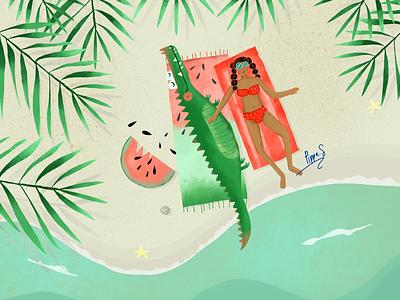 Besties Beach Day sunshine summer illustration crocodile beach procreate australia perth