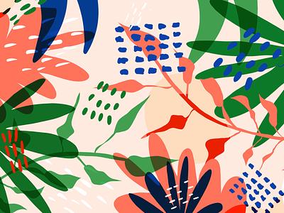 Tropical Spring rgb primary colours procreate illustrator surface pattern textile design perth illustration plant jungle
