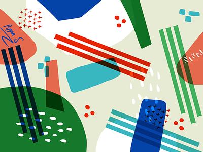 Pick up sticks graphic design illustrator perth rgb blue green red primary colours designer illustration textile design surface pattern surface pattern design