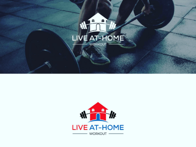 LIVE AT - HOME WORKOUT LOGO DESIGN create logo