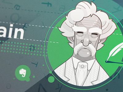 Mark Twain twain mark illustration design evernote