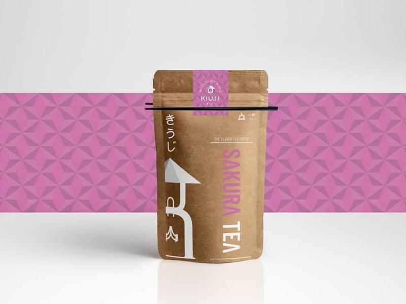 Kiuji in paper craft package tea inspired pattern packaging branding webgraphic mockup logotype design