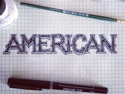 American Blues - type draft typography vintage american blues process