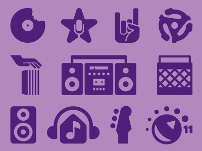 Music icons horns rock star selection hand house headphones microphone bin boom box eleven 11 speaker guitar record music icon set icons digital illustration illustration