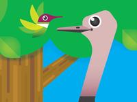 Hummingbird & Ostrich