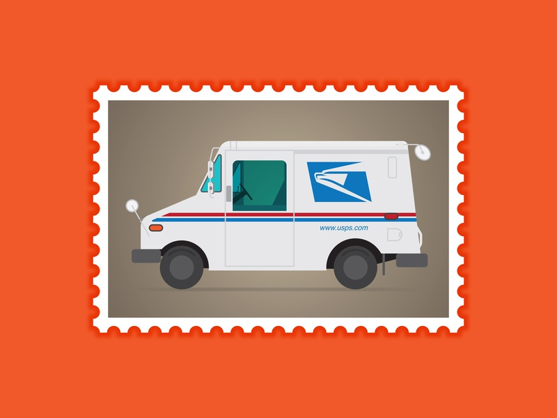First Class Postage letter forever post office mail carrier vehicle digital illustration illustration side view profile postal service truck postage stamp