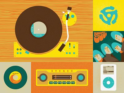 Listen Up rubber soul blue note 45 beach boys beatles wood illustration digital illustration audio insert record ipod vinyl music album radio turntable stereo