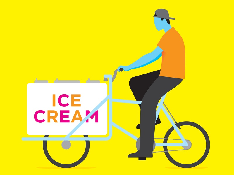 The Ice Cream Man profile side view frozen sell illustration digital illustration summer dessert food man tricycle bicycle bike ice cream