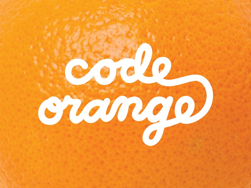 Code Orange single line peel handwritten typography script orange code