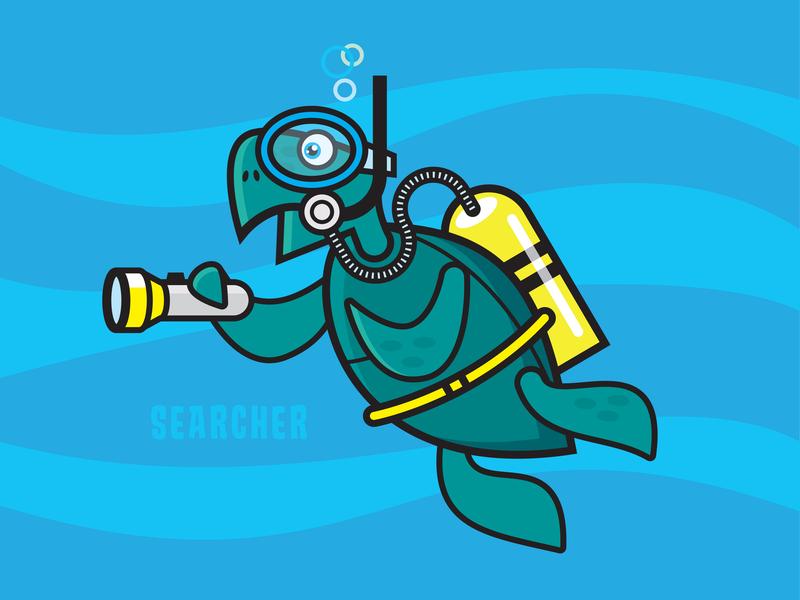 Searcher the Green Sea Turtle snorkel torch flashlight scuba bubbles ocean water digital illustration illustration turtle