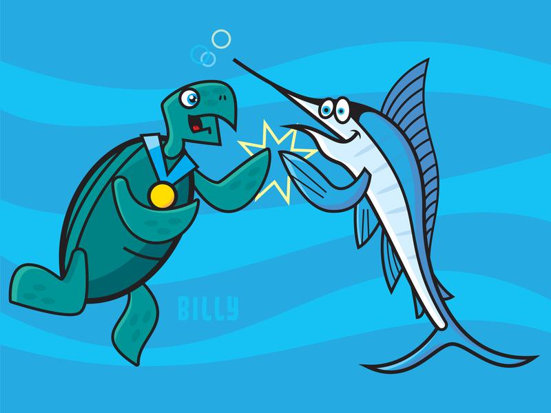 Billy the Green Sea Turtle high five bubbles water ocean medal swordfish turtle digital illustration illustration