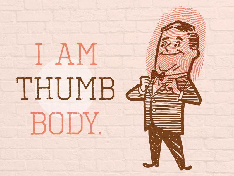 I Am Thumb Body thumb thumbprint fingerprint bowtie man illustration