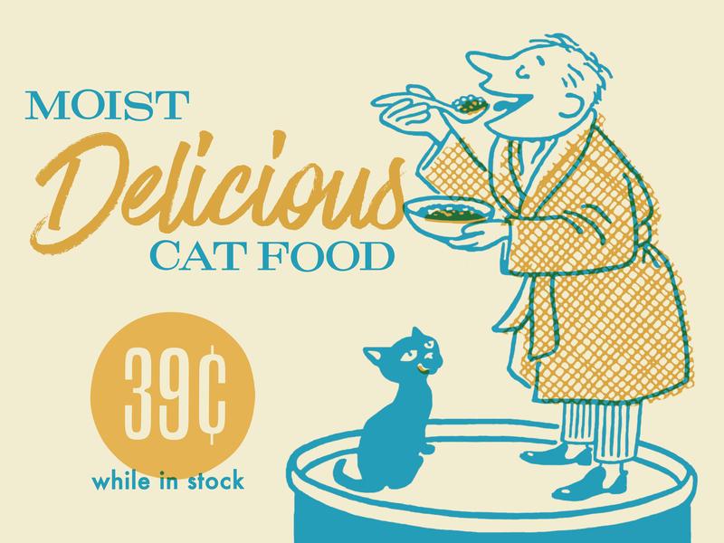 Moist Delicious Cat Food food eat bathrobe cat man digital illustration illustration
