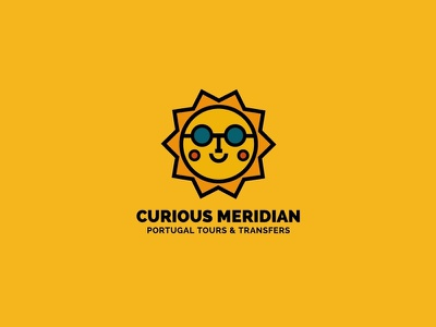 Curious Meridian Logo holidays vacation portugal family friendly yellow happy smile sun glasses bold sun transfers tours branding